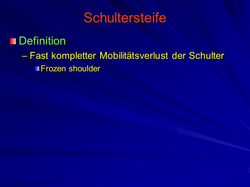 Schultersteife Definition –Fast kompletter Mobilitätsverlust der Schulter Frozen shoulder