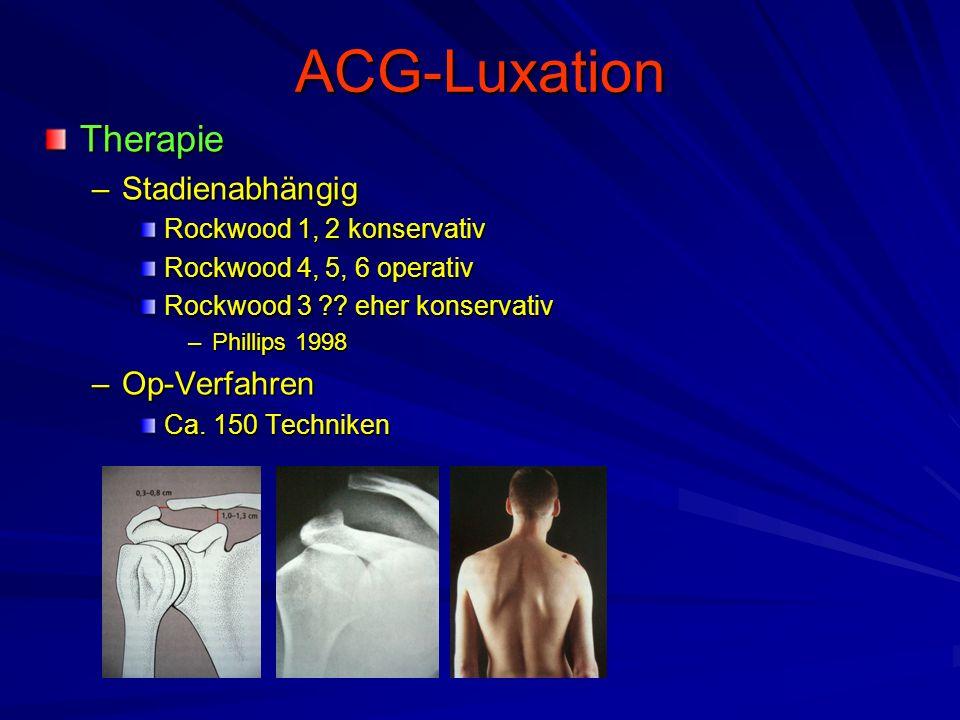 ACG-Luxation Therapie –Stadienabhängig Rockwood 1, 2 konservativ Rockwood 4, 5, 6 operativ Rockwood 3 ?? eher konservativ –Phillips 1998 –Op-Verfahren
