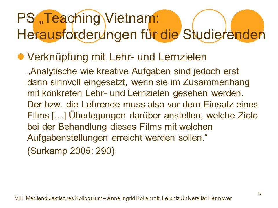 """15 PS """"Teaching Vietnam: Herausforderungen für die Studierenden Verknüpfung mit Lehr- und Lernzielen """"Analytische wie kreative Aufgaben sind jedoch erst dann sinnvoll eingesetzt, wenn sie im Zusammenhang mit konkreten Lehr- und Lernzielen gesehen werden."""