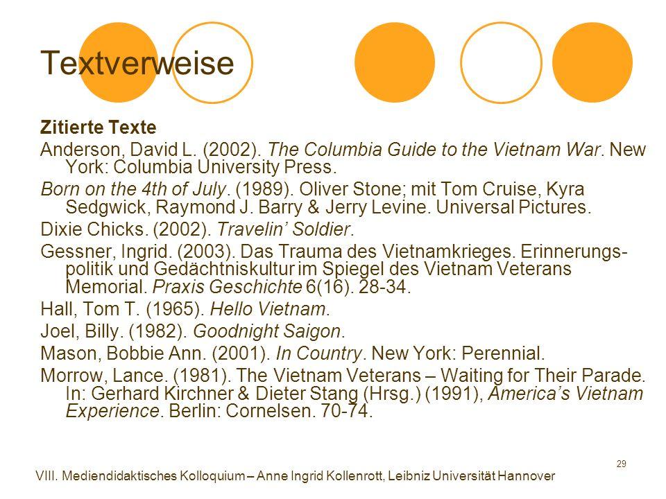 29 Textverweise Zitierte Texte Anderson, David L. (2002).