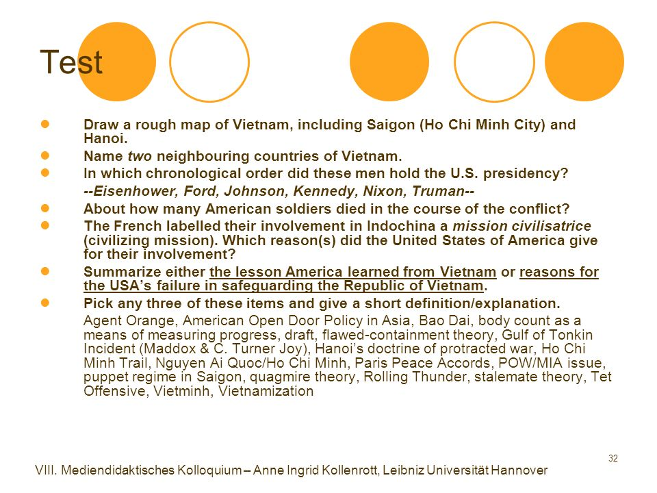 32 Test Draw a rough map of Vietnam, including Saigon (Ho Chi Minh City) and Hanoi. Name two neighbouring countries of Vietnam. In which chronological