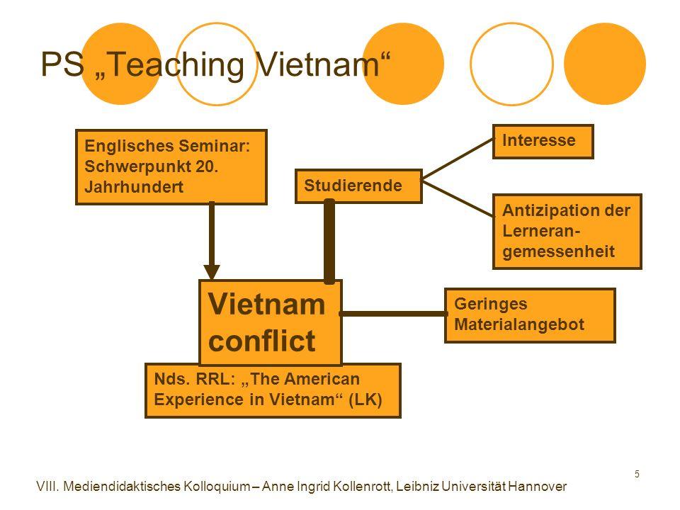 "5 PS ""Teaching Vietnam"" Nds. RRL: ""The American Experience in Vietnam"" (LK) Englisches Seminar: Schwerpunkt 20. Jahrhundert Studierende Vietnam confli"