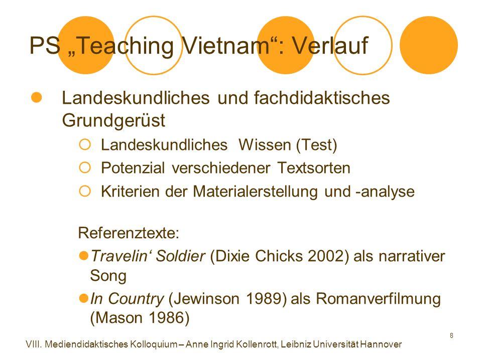 """8 PS """"Teaching Vietnam"""": Verlauf Landeskundliches und fachdidaktisches Grundgerüst  Landeskundliches Wissen (Test)  Potenzial verschiedener Textsort"""