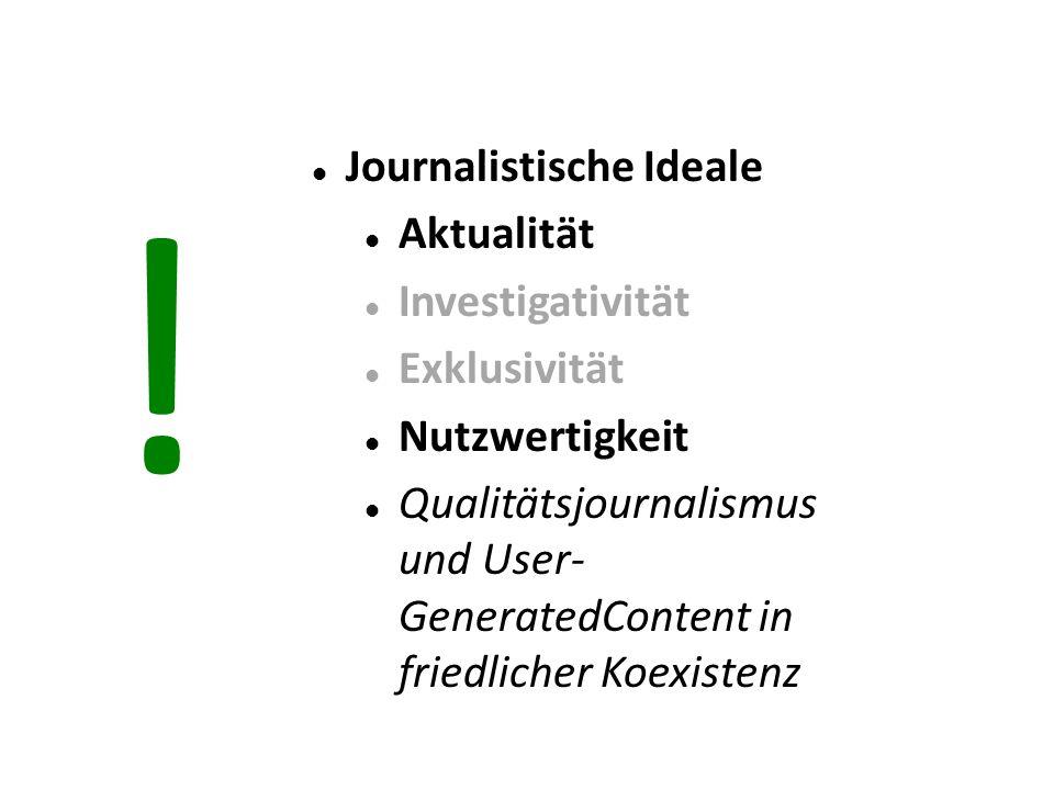 Journalistische Ideale Aktualität Investigativität Exklusivität Nutzwertigkeit Qualitätsjournalismus und User- GeneratedContent in friedlicher Koexistenz !