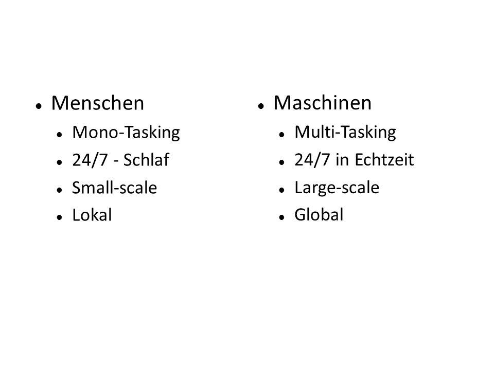 Menschen Mono-Tasking 24/7 - Schlaf Small-scale Lokal Maschinen Multi-Tasking 24/7 in Echtzeit Large-scale Global