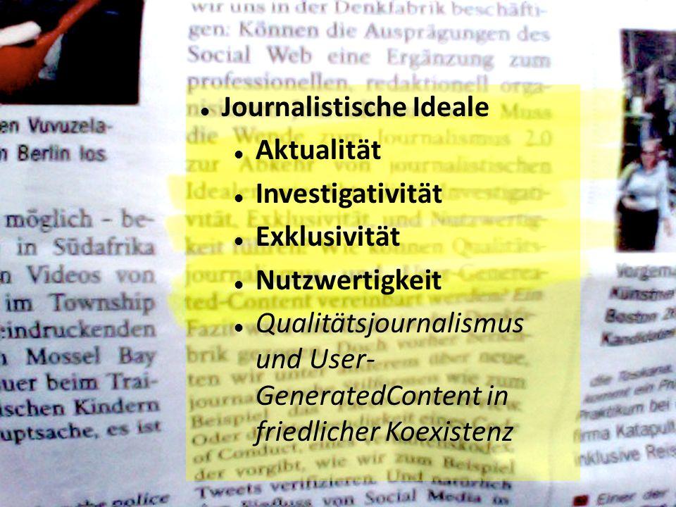 Journalistische Ideale Aktualität Investigativität Exklusivität Nutzwertigkeit Qualitätsjournalismus und User- GeneratedContent in friedlicher Koexistenz