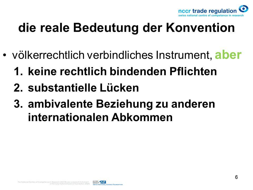 6 die reale Bedeutung der Konvention völkerrechtlich verbindliches Instrument, aber 1.keine rechtlich bindenden Pflichten 2.substantielle Lücken 3.ambivalente Beziehung zu anderen internationalen Abkommen