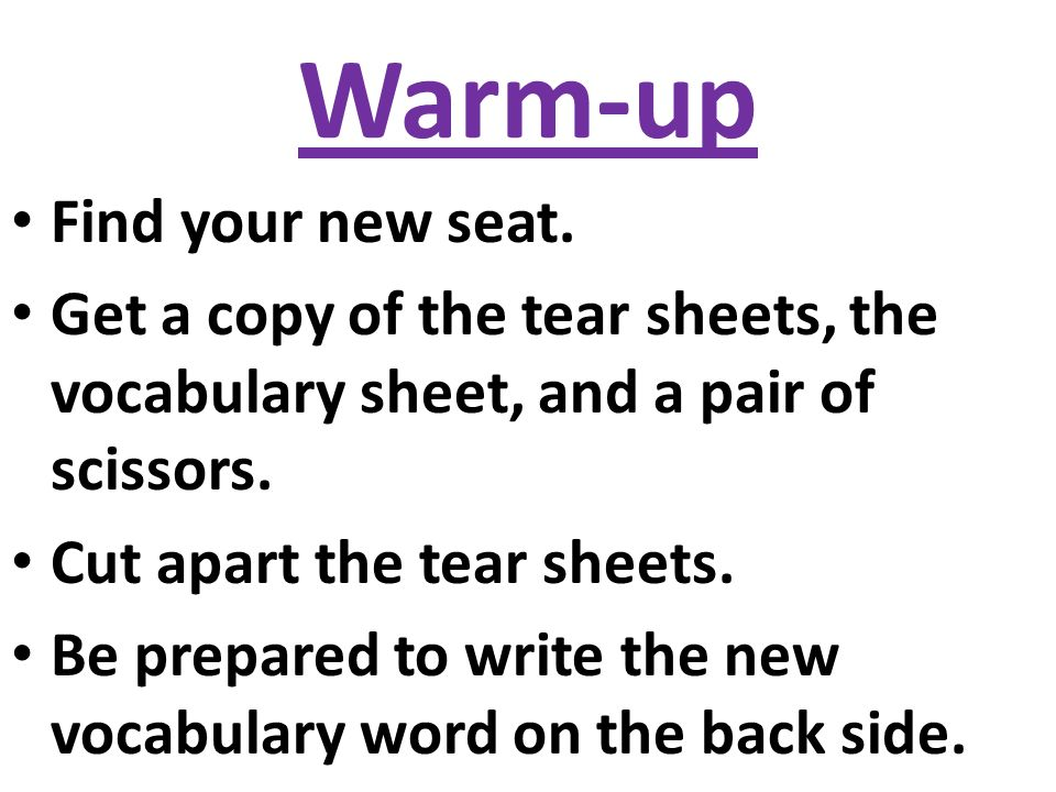 Warm-up Find your new seat.