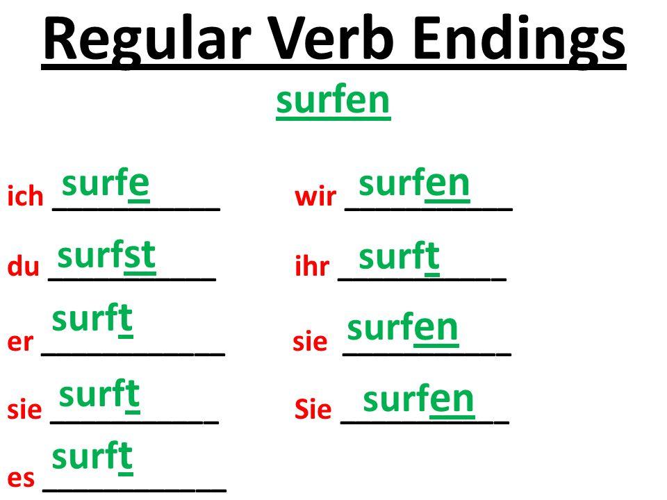 Regular Verb Endings surfen ich ___________ wir ___________ du ___________ ihr ___________ er ____________ sie ___________ sie ___________ Sie ___________ es ____________ surf e surf st surf t surf en surf t surf en
