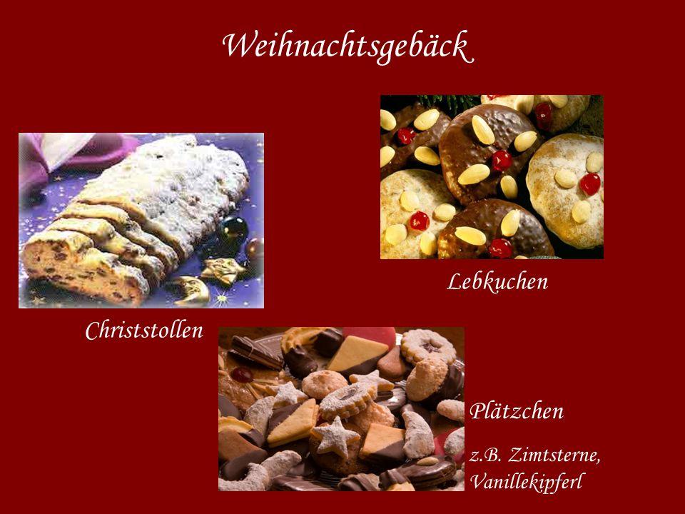 Weihnachtsgebäck Christstollen Lebkuchen Plätzchen z.B. Zimtsterne, Vanillekipferl