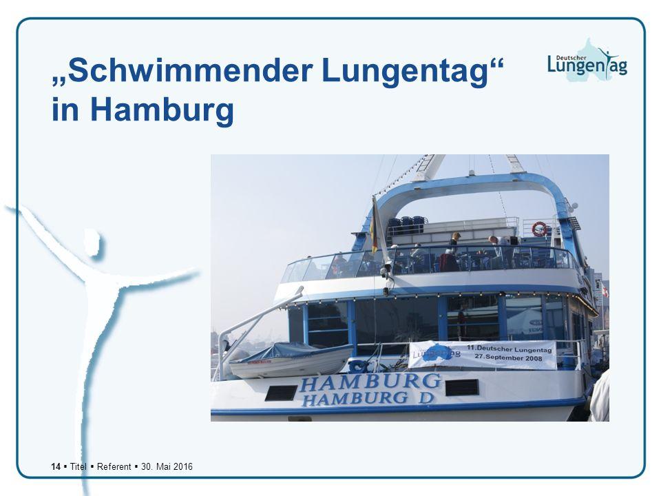 """14  Titel  Referent  30. Mai 2016 """"Schwimmender Lungentag in Hamburg"""