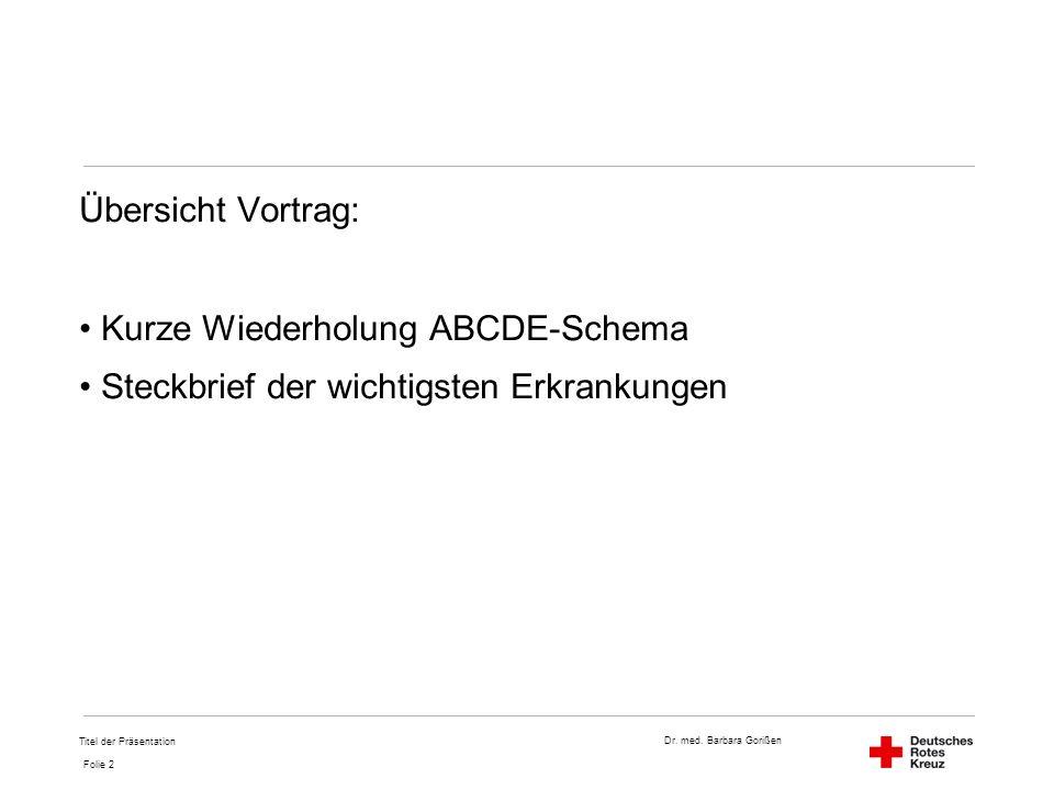 Dr. med. Barbara Gorißen Folie 2 Titel der Präsentation Übersicht Vortrag: Kurze Wiederholung ABCDE-Schema Steckbrief der wichtigsten Erkrankungen