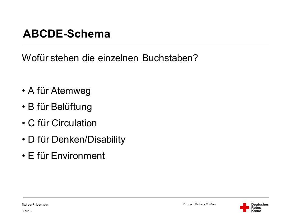 Dr. med. Barbara Gorißen Folie 3 ABCDE-Schema Wofür stehen die einzelnen Buchstaben? A für Atemweg B für Belüftung C für Circulation D für Denken/Disa