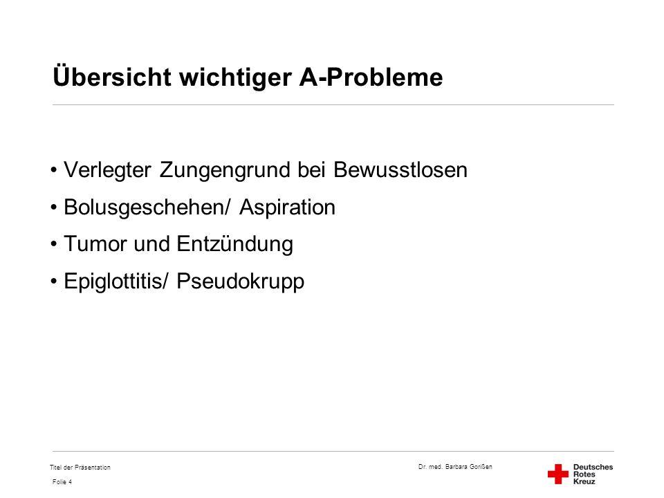 Dr. med. Barbara Gorißen Folie 4 Übersicht wichtiger A-Probleme Verlegter Zungengrund bei Bewusstlosen Bolusgeschehen/ Aspiration Tumor und Entzündung