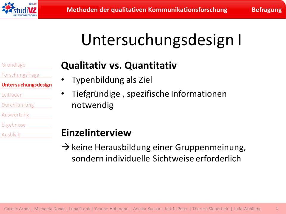 5 Carolin Arndt | Michaela Donat | Lena Frank | Yvonne Hohmann | Annika Kuchar | Katrin Peter | Theresa Sieberhein | Julia Wohllebe Untersuchungsdesign I Qualitativ vs.