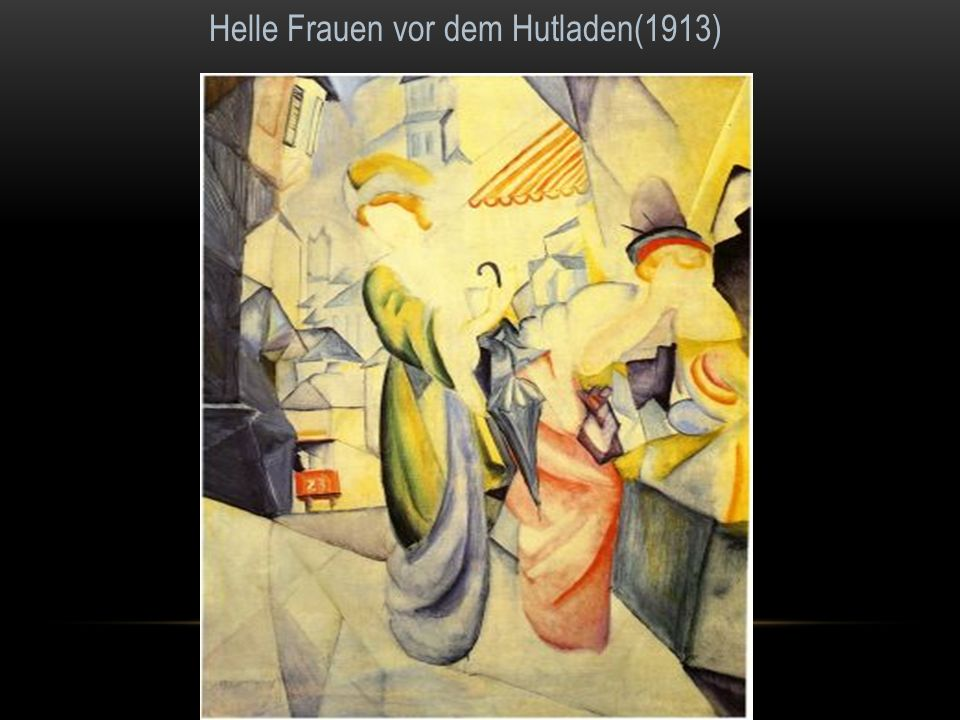 Helle Frauen vor dem Hutladen(1913)