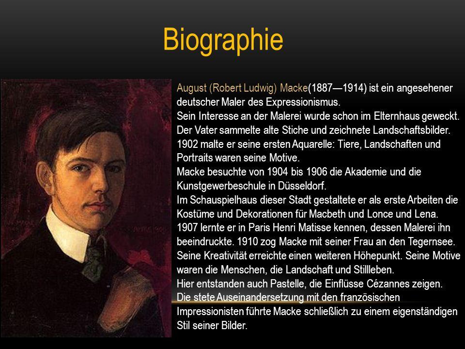 """Hauptwerke """"Angler am Rhein (1905) """"Selbstportrait mit Hut (1909) """"Selbstbildnis (1909) """"Segelboot (1910) """"Bildnis Franz Marc (1911) """"Marienkirche im Schnee (1911) """"Der Sturm (1911) """"Gemüsefelder (1912) """"Sparziergang am See (1912) """"Rotes Haus im Park (1914) """"Promenade (1914)"""