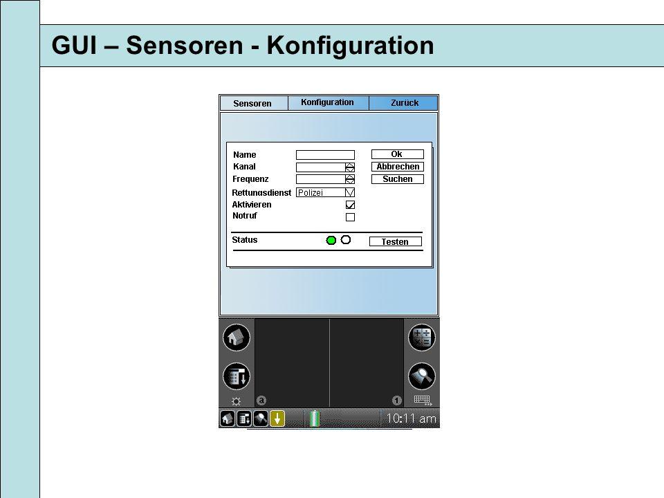 GUI – Sensoren - Konfiguration