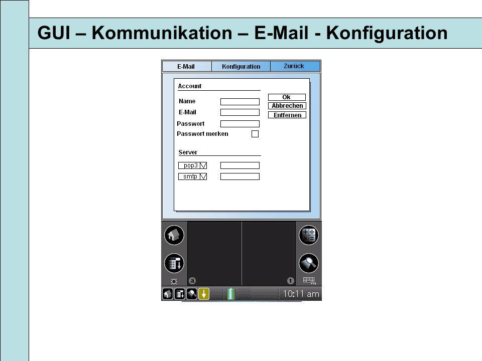 GUI – Kommunikation – E-Mail - Konfiguration