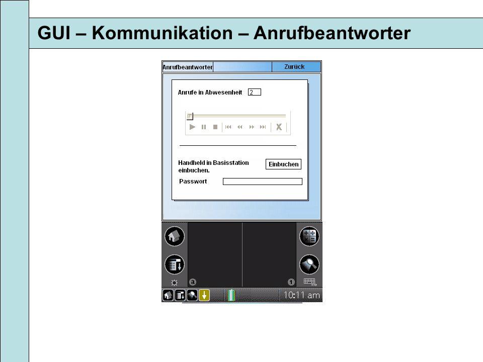 GUI – Kommunikation – Anrufbeantworter