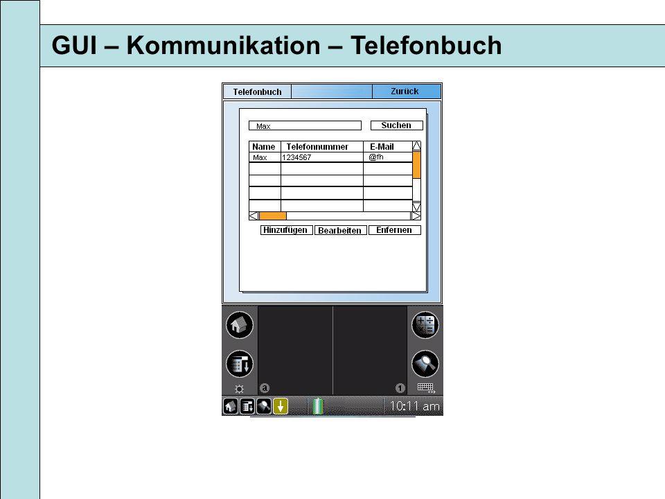 GUI – Kommunikation – Telefonbuch