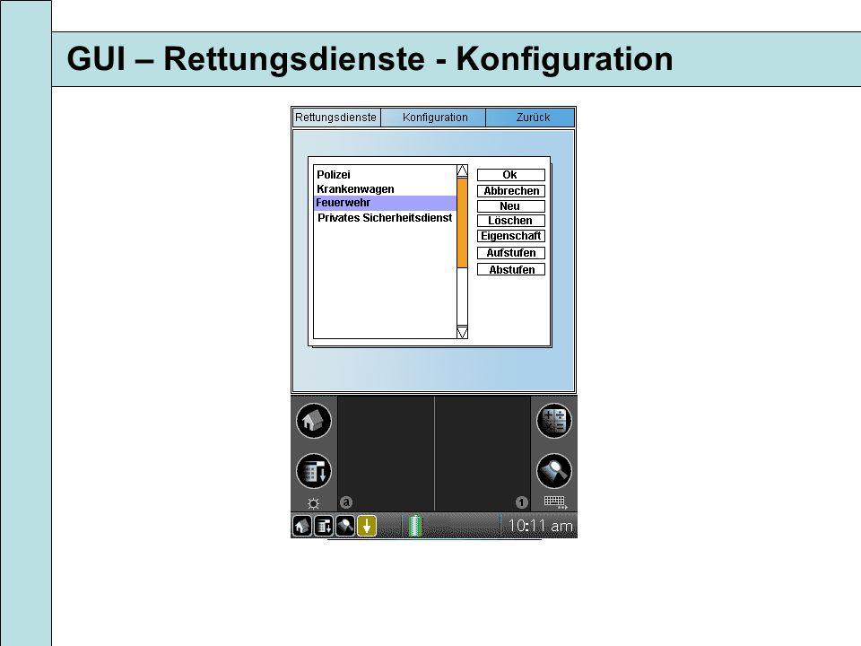GUI – Rettungsdienste - Konfiguration