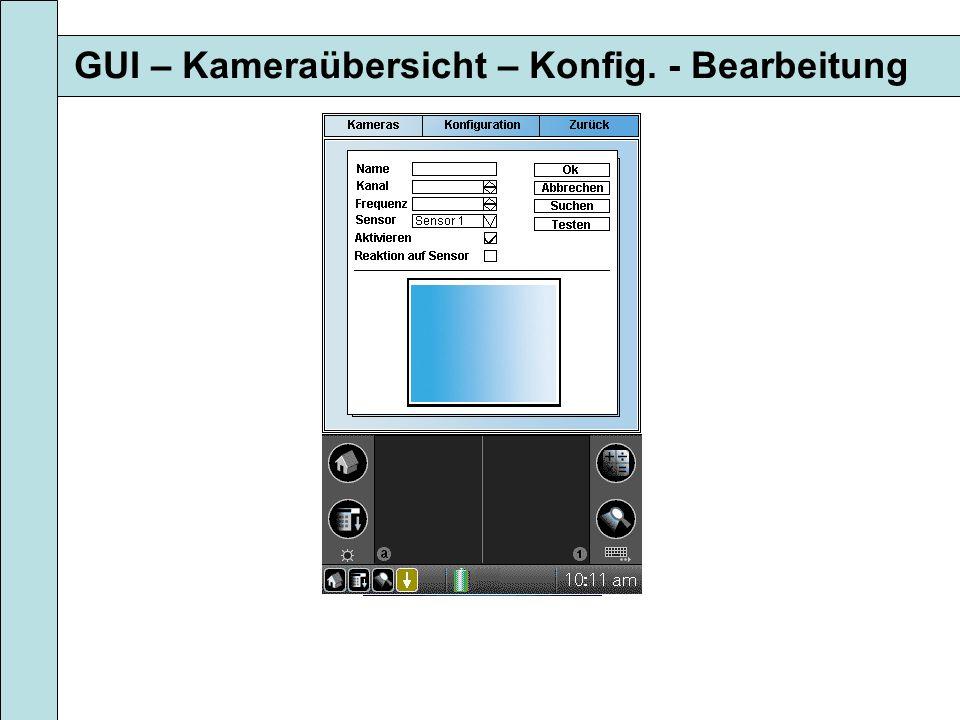 GUI – Kameraübersicht – Konfig. - Bearbeitung