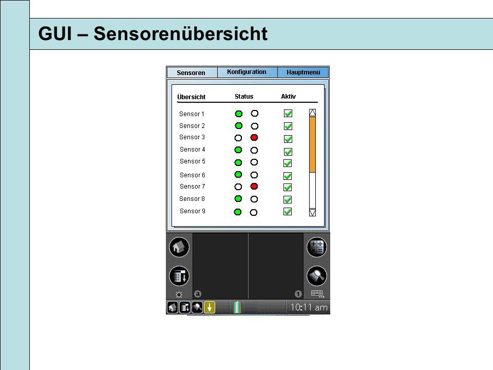 GUI – Sensorenübersicht