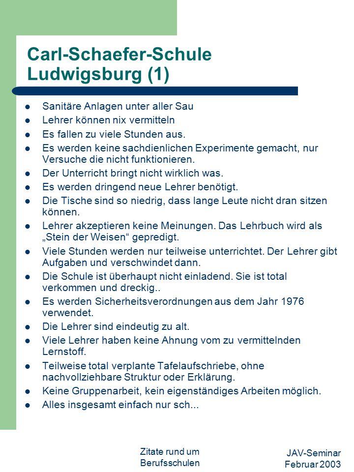 JAV-Seminar Februar 2003 Zitate rund um Berufsschulen Carl-Schaefer-Schule Ludwigsburg (1) Sanitäre Anlagen unter aller Sau Lehrer können nix vermitteln Es fallen zu viele Stunden aus.