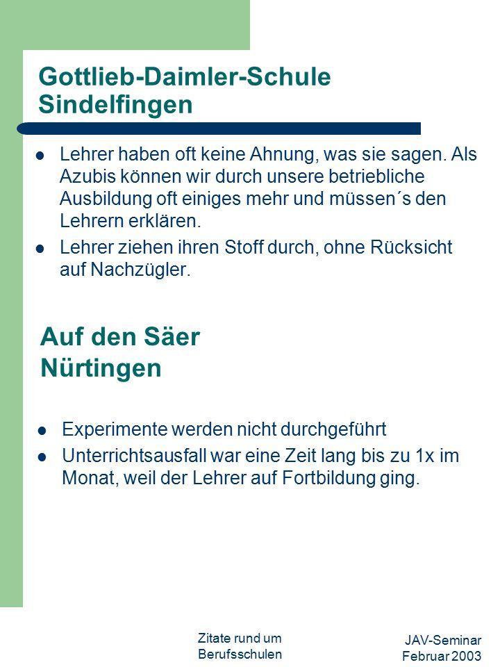 JAV-Seminar Februar 2003 Zitate rund um Berufsschulen Max-Eyth-Schule Stuttgart Wir werden nicht ernst genommen.
