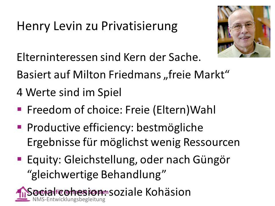 Henry Levin zu Privatisierung Elterninteressen sind Kern der Sache.
