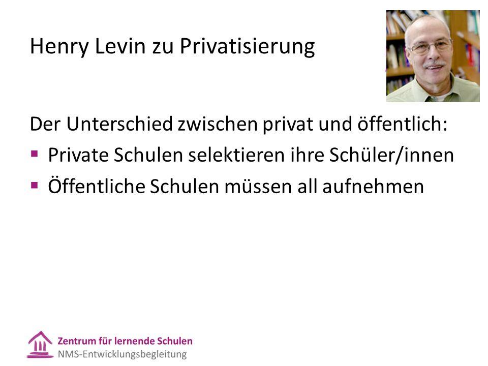 Henry Levin zu Privatisierung Der Unterschied zwischen privat und öffentlich:  Private Schulen selektieren ihre Schüler/innen  Öffentliche Schulen müssen all aufnehmen