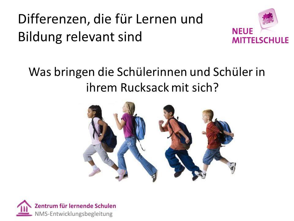 Differenzen, die für Lernen und Bildung relevant sind Was bringen die Schülerinnen und Schüler in ihrem Rucksack mit sich?