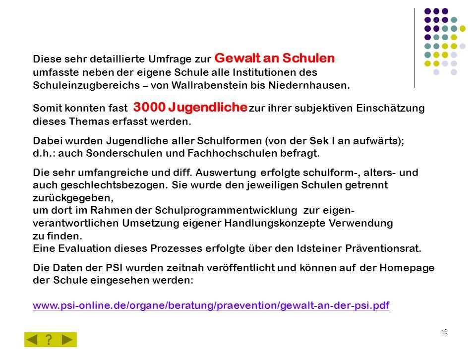 19 Diese sehr detaillierte Umfrage zur Gewalt an Schulen umfasste neben der eigene Schule alle Institutionen des Schuleinzugbereichs – von Wallrabenstein bis Niedernhausen.