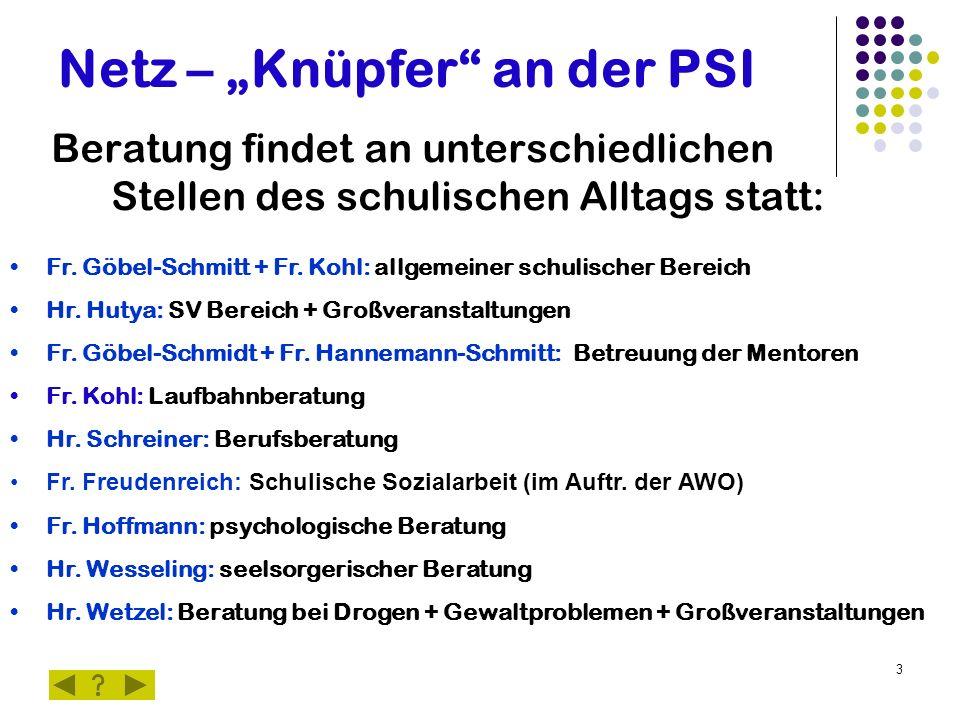 """3 Netz – """"Knüpfer"""" an der PSI Beratung findet an unterschiedlichen Stellen des schulischen Alltags statt: Fr. Göbel-Schmitt + Fr. Kohl: allgemeiner sc"""