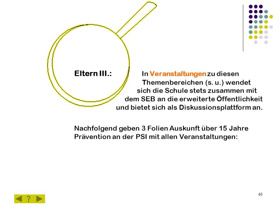 40 Eltern III.: In Veranstaltungen zu diesen Themenbereichen (s.
