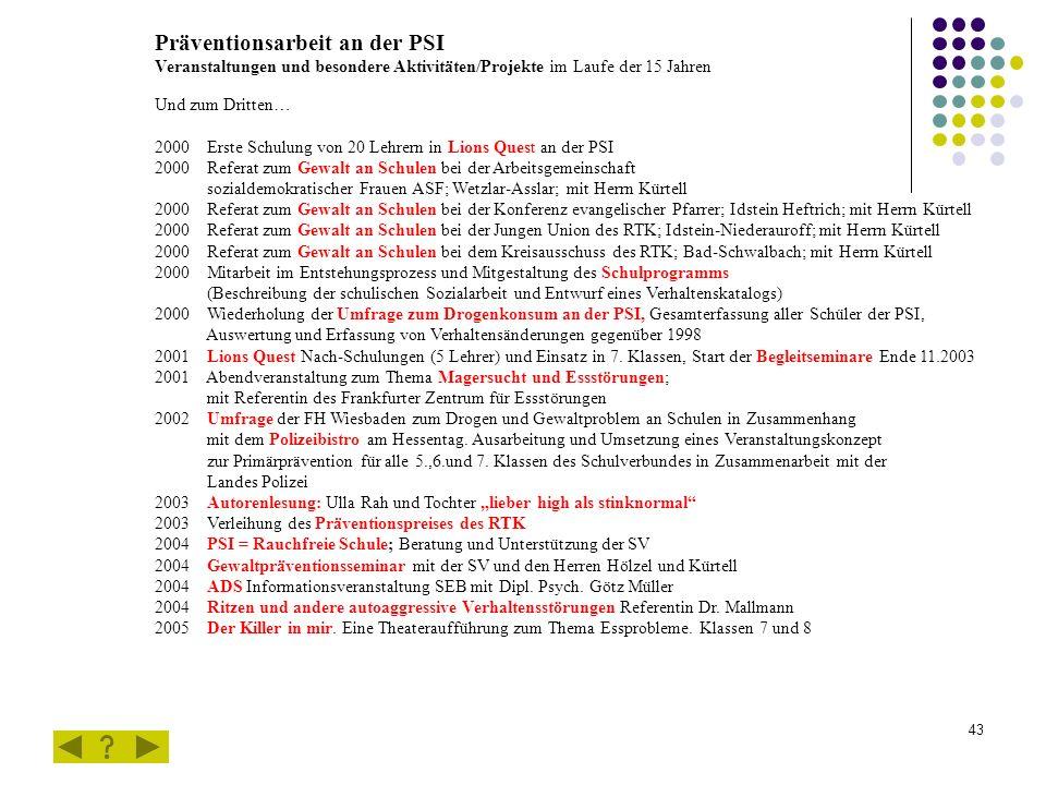 43 Präventionsarbeit an der PSI Veranstaltungen und besondere Aktivitäten/Projekte im Laufe der 15 Jahren Und zum Dritten… 2000 Erste Schulung von 20