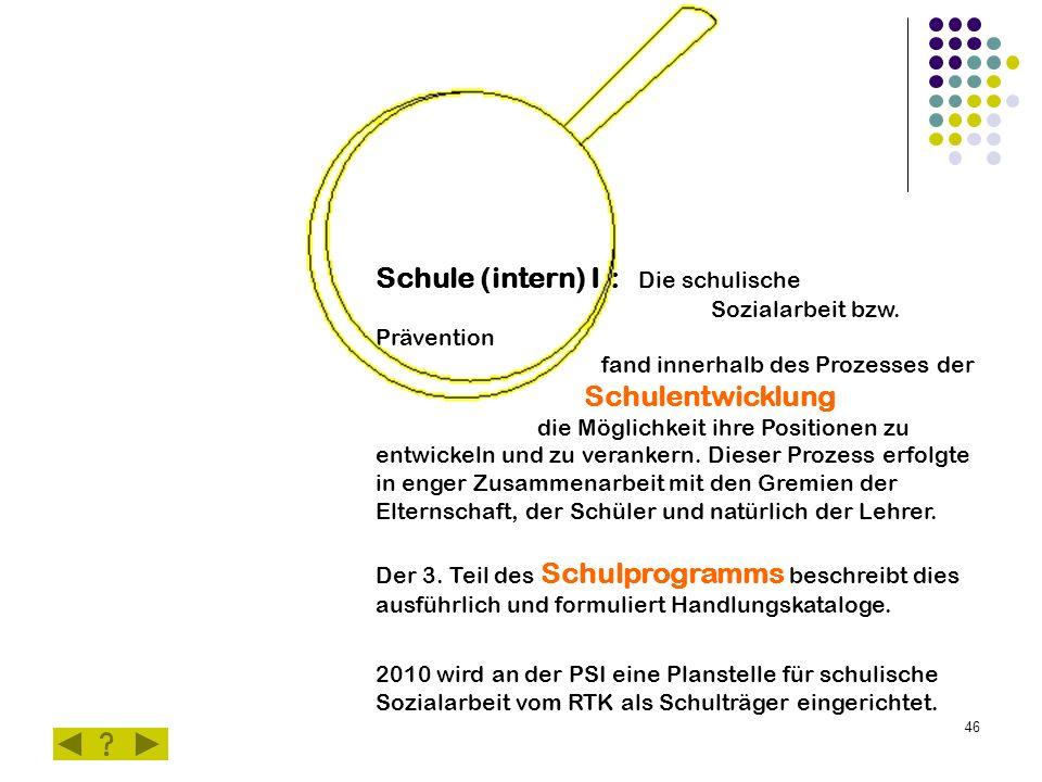 46 Schule (intern) I.: Die schulische Sozialarbeit bzw.