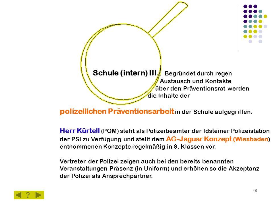 48 Schule (intern) III.: Begründet durch regen Austausch und Kontakte über den Präventionsrat werden die Inhalte der polizeilichen Präventionsarbeit in der Schule aufgegriffen.