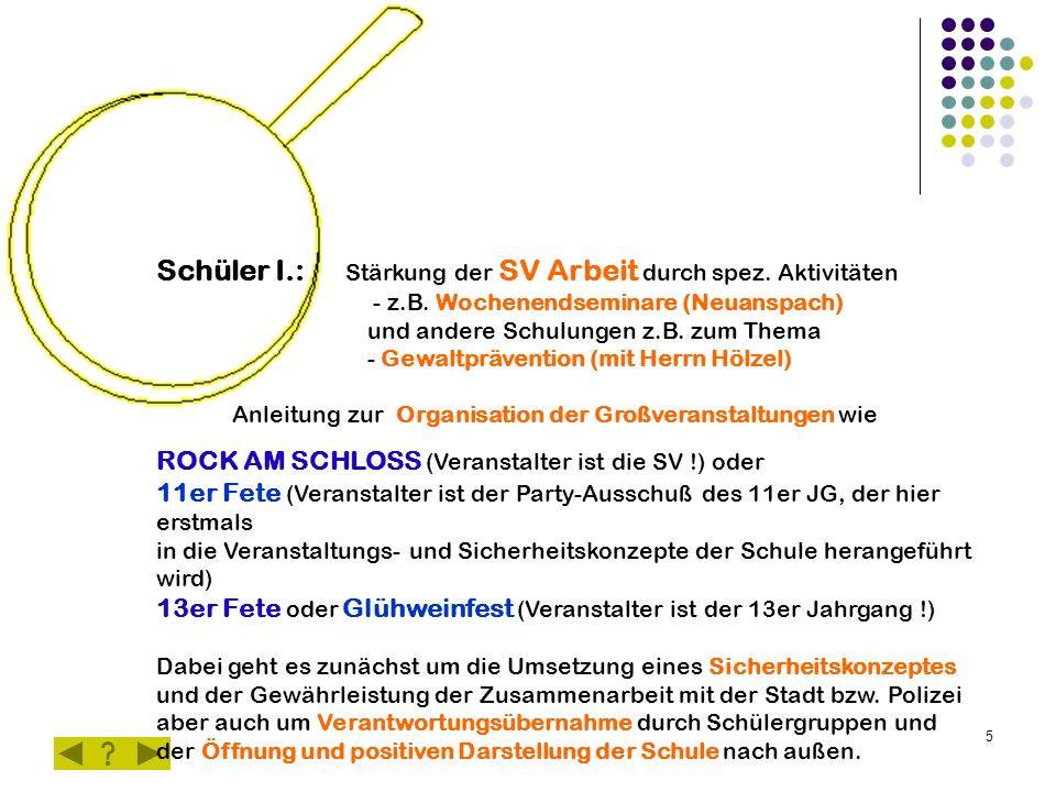 5 Schüler I.: Stärkung der SV Arbeit durch spez. Aktivitäten - z.B. Wochenendseminare (Neuanspach) und andere Schulungen z.B. zum Thema - Gewaltpräven