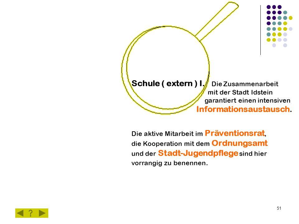 51 Schule ( extern ) I.: Die Zusammenarbeit mit der Stadt Idstein garantiert einen intensiven Informationsaustausch.