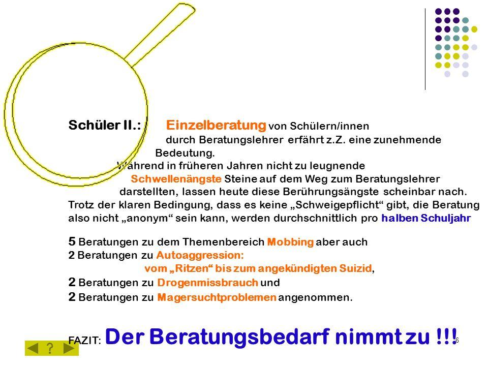 6 Schüler II.:Einzelberatung von Schülern/innen durch Beratungslehrer erfährt z.Z.