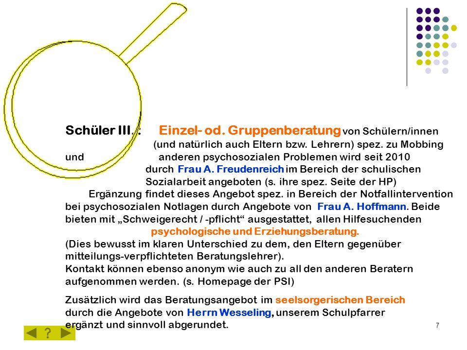 7 Schüler III. : Einzel- od. Gruppenberatung von Schülern/innen (und natürlich auch Eltern bzw.