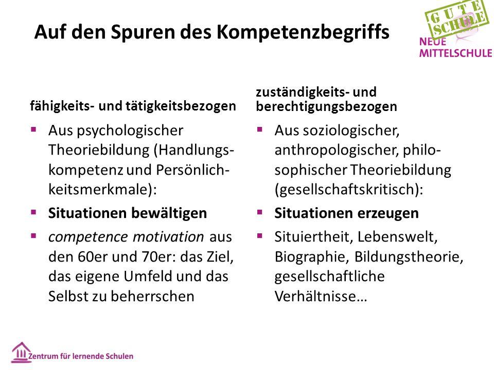 fähigkeits- und tätigkeitsbezogen zuständigkeits- und berechtigungsbezogen  Aus psychologischer Theoriebildung (Handlungs- kompetenz und Persönlich-