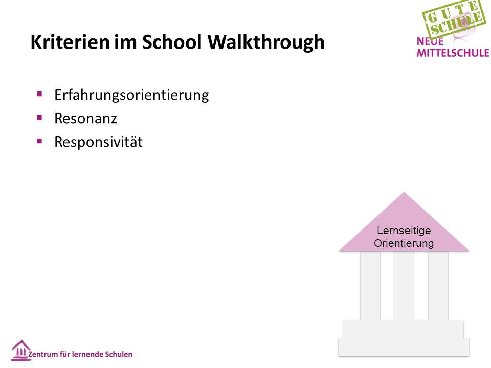 Lernseitige Orientierung Kriterien im School Walkthrough  Erfahrungsorientierung  Resonanz  Responsivität