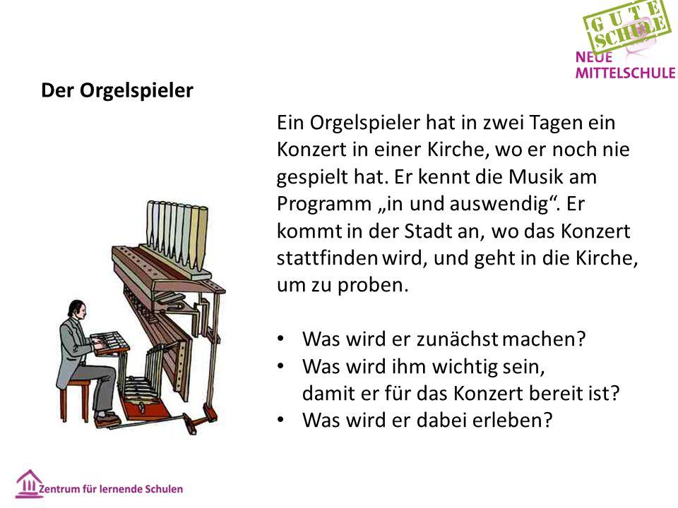 """Der Orgelspieler Ein Orgelspieler hat in zwei Tagen ein Konzert in einer Kirche, wo er noch nie gespielt hat. Er kennt die Musik am Programm """"in und a"""