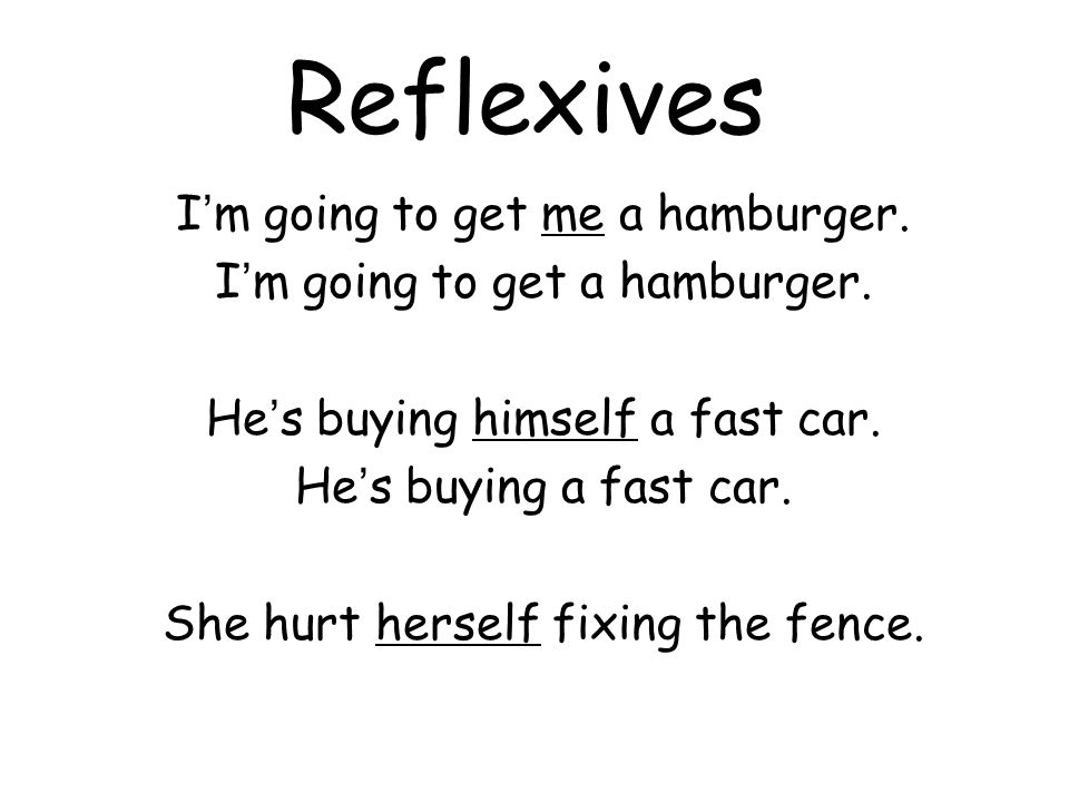 Reflexives I ' m going to get me a hamburger. I ' m going to get a hamburger.
