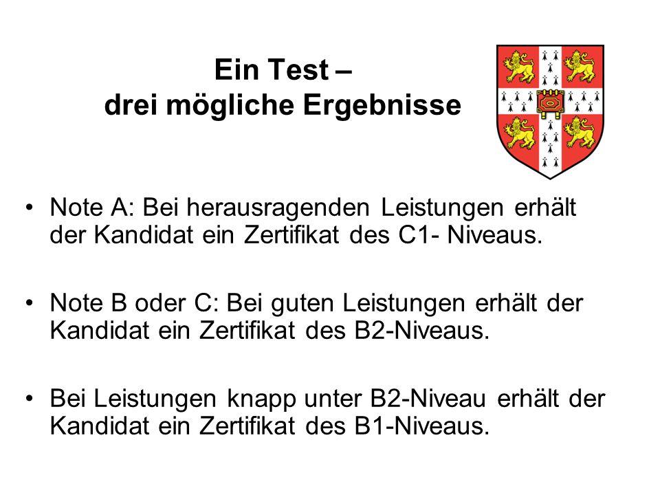 Ein Test – drei mögliche Ergebnisse Note A: Bei herausragenden Leistungen erhält der Kandidat ein Zertifikat des C1- Niveaus.