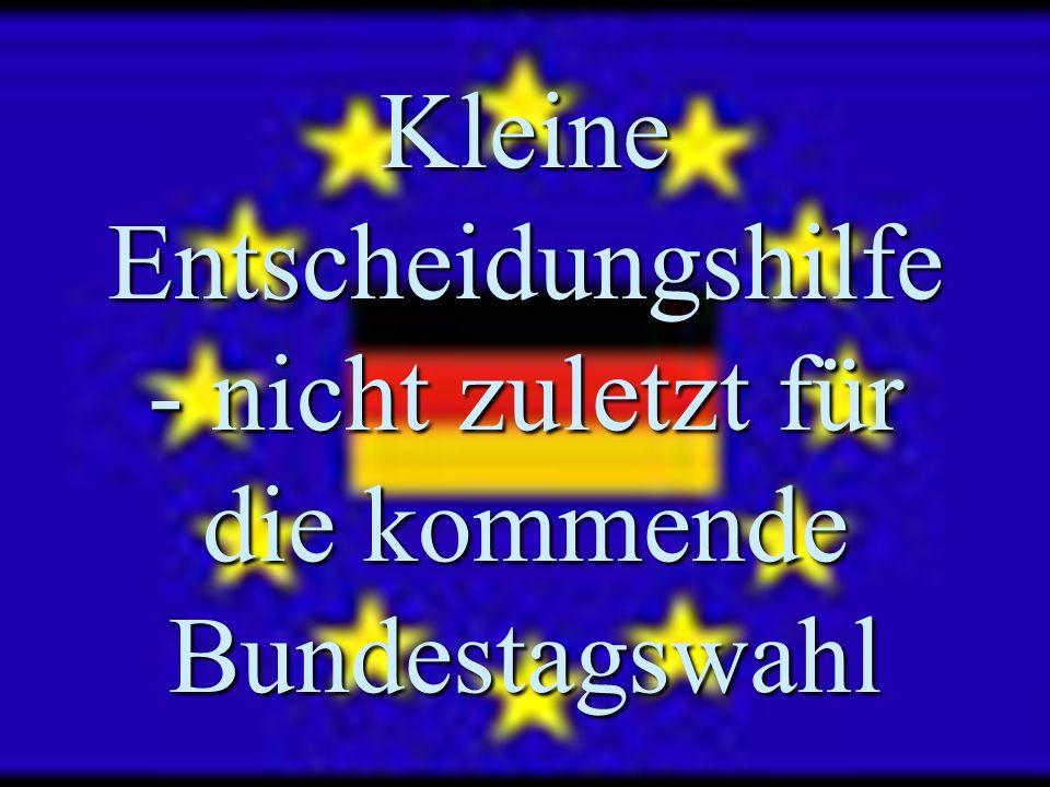 Kleine Entscheidungshilfe - nicht zuletzt für die kommende Bundestagswahl