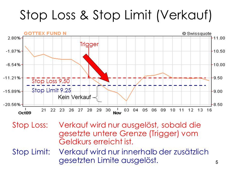 5 Stop Loss & Stop Limit (Verkauf) Stop Loss:Verkauf wird nur ausgelöst, sobald die gesetzte untere Grenze (Trigger) vom Geldkurs erreicht ist.